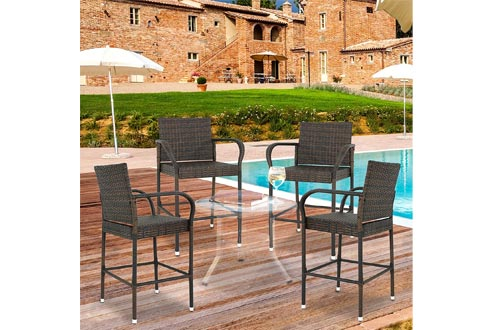 Nova Microdermabrasion Wicker Barstool Outdoor Patio Furniture Bar Stools All Weather Rattan Chair w/Armrest and Footrest for Garden Pool Lawn Porch Backyard, Set of 4