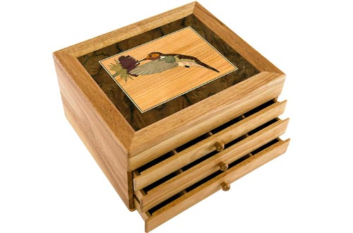 MarqART Hummingbird Wood Jewelry Boxes & Gift - Handmade USA - Unmatched Quality - Unique, No Two are The Same - Original Work of Wood Art (#7017 Hummingbird 3 Drawer)