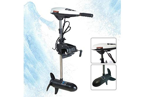 CNCEST 12V 65LB Electric Trolling Motors Outboard Engine Rubber Inflatable Fishing Boat