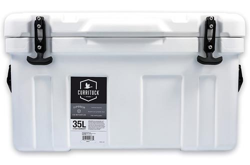 Currituck Heavy Duty Cooler by Camco- Perfect as a Boat Coolers and For Hunting, Hiking, Camping, Fishing, The Beach and More 37 Quarts (White) (51873)