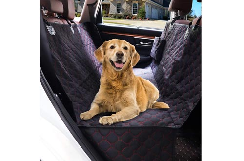 SUPSOO Dog Seat Covers for Back Seat, Waterproof Dog Car Seat Covers with 2 Storage Pockets for Dogs, 600D Heavy Duty Scratch Proof Nonslip Durable Dog Car Hammock for Cars SUVs and Trucks