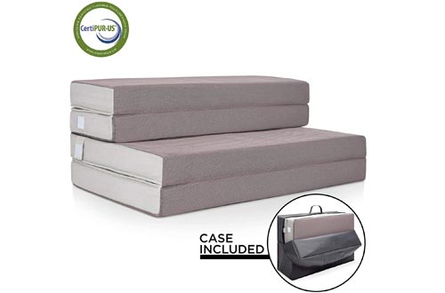 Best Choice Products 4in Thick Folding Portable Twin Mattresses Topper w/Carry Case, High-Density Foam, Washable Cover