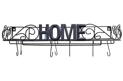 """It's Useful. Decorative Hanging Pot Racks for Kitchen Organization - Wall Mounted Iron Pot Racks with""""HOME"""" Lettering Across Front - Hooks and Standing Lid Holders Included"""