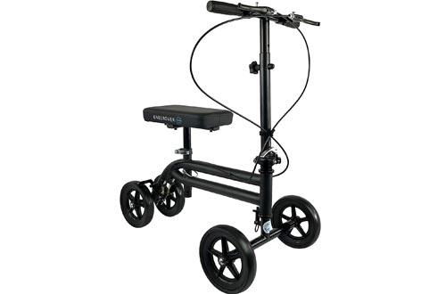 KneeRover Economy Knee Scooters Steerable Knee Walker Crutch Alternative with Dual Braking System in Matte Black