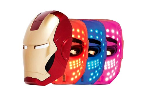 IRON MAN LED Masks, 3 Color Photon Light Skin Rejuvenation Therapy Facial Home Skin Care Masks, FACE FACTORY