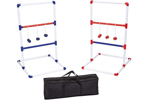 AmazonBasics Ladder Toss Outdoor Lawn Game Set with Soft Carrying Case - 40 x 24 Inches, Red and Blue