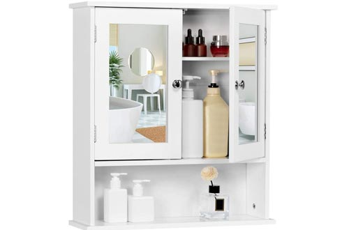 Yaheetech Bathroom Medicine Cabinets Wall Mount Mirror Cabinets with Double Doors and Adjustable Shelf, Wooden Storage Cabinets Organizer for Kitchen, Accent Home Furniture, White