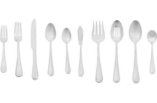 AmazonBasics 65-Piece Stainless Steel Flatware Silverware Sets with Pearled Edge, Service for 12