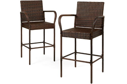 Best Choice Products Set of 2 Indoor Outdoor Wicker Bar Stools Bar Chairs for Patio, Pool, Garden - Brown