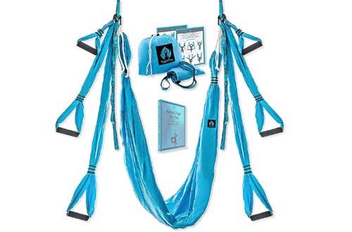 Yoga4You Aerial Yoga Swings Set - Yoga Hammock Swings - Trapeze Yoga Kit - 2 Extension Straps - Wide Flying Yoga Inversion Tool - Antigravity Ceiling Hanging Yoga Sling - Adult Kids Aria