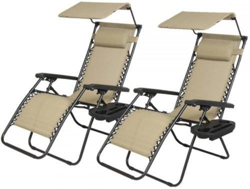 Lounge Patio Chairs with Canopy Cup Holder