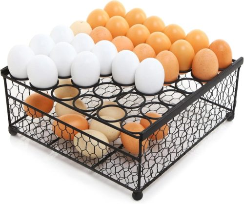 2-Tier-Country-Rustic-Black-Chicken-Wire-36-Eggs-Display-Tray-and-Storage-Basket