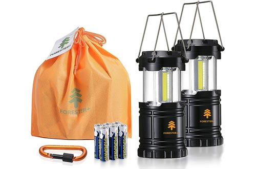 Forester+ Camping Lanterns (2-Pack), Super Bright COB LED, Great for Camping, Hiking, Survival Kit, Emergency Light, Power Outage and Holiday Gift (6 x AA Batteries Included)