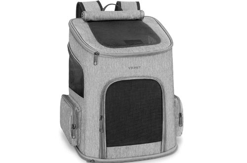 Dog Backpacks Carrier, Dog Carrier Backpacks for Small Dogs Cats, Ventilated Design Breathable Pet Carrier Backpacks Cat Bag for Travel Hiking Camping Outdoor Use, Grey