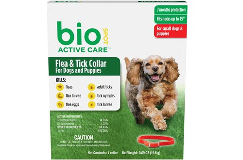 BioSpot Active Care Flea and Tick Collars for Small Dogs, 15-Inch