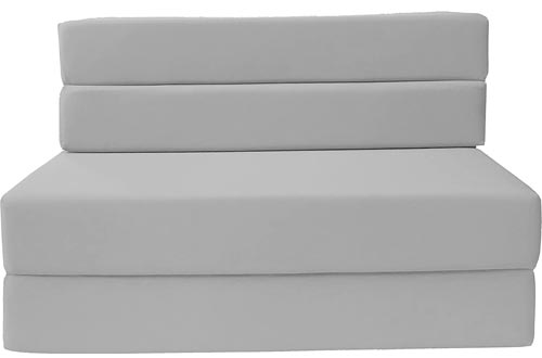 D&D Futon Furniture Folding Foam Mattresses, Sofa Chair Bed, Guest Beds (Full Size, Gray)