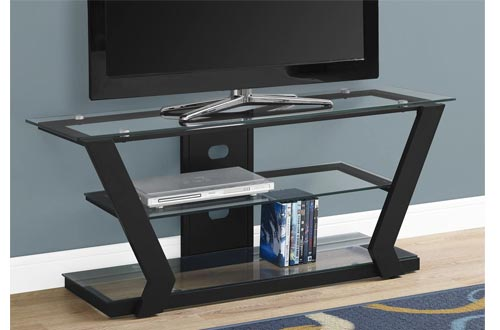 Monarch Specialties I Tv Stands-48 L Metal with Tempered Glass, Black