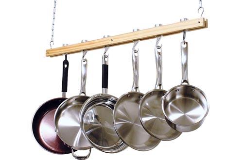 Cooks Standard NC-00269, Single Bar, 36-Inch Ceiling Mounted Wooden Pot Racks, Brown
