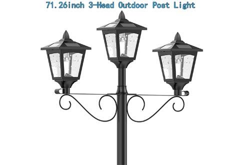 "Upgrade Solar Powered 72"" Triple-Head Street Vintage Outdoor Garden Solar Lamp Post Lights Lawn"