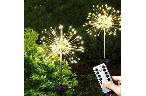 TGGCT-D Solar Lights Garden Outdoor Stake Light 2 Pack 120 LED Solar Firework Starburst Lights Solar Powered Light 8 Mode-Warm