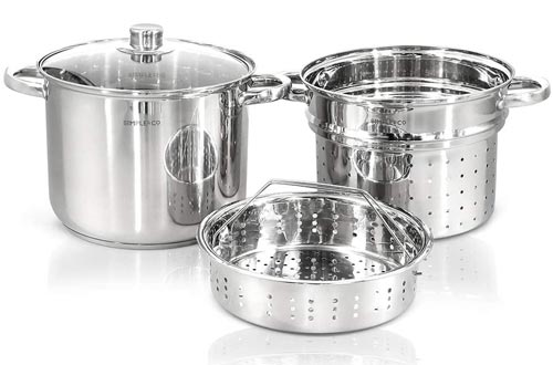 4 PCS Stainless Steel Cookware Set Sauce Pots, Steel Steamer, Powder Cage