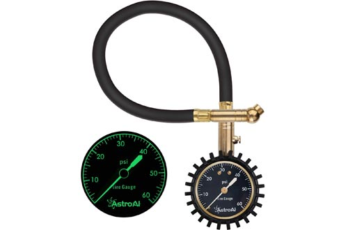 AstroAI Tire Pressure Gauges Expert, 0-60 PSI, Certified ANSI B40.1 Accurate with Improved Needle and Chuck