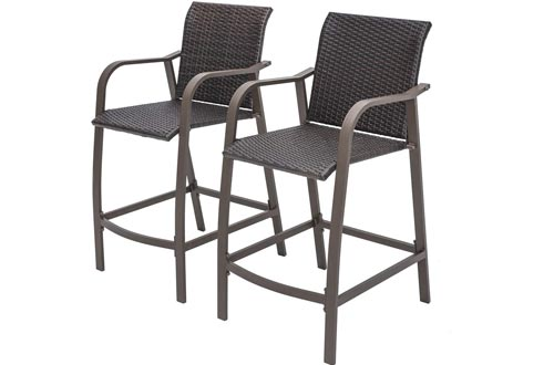 Crestlive Products Counter Height Wicker Bar Stools All Weather Patio Furniture with Heavy Duty Aluminum Frame in Antique Brown Finish for Outdoor Indoor