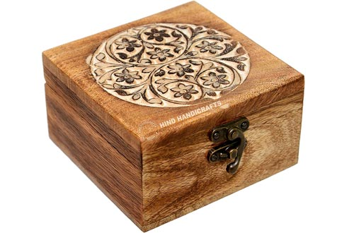 """Antique Handmade Wooden Urn Tree of Life Engraving Handcarved Jewellery Boxes for Women-Men Jewel 