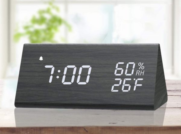 2. Digital Alarm Clock, with Wooden Electronic LED Time Display