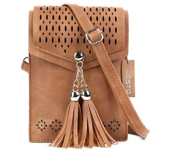 2. seOSTO Womens Small Crossbody Bag, Tassel Cell Phone Purse Holder Wallet