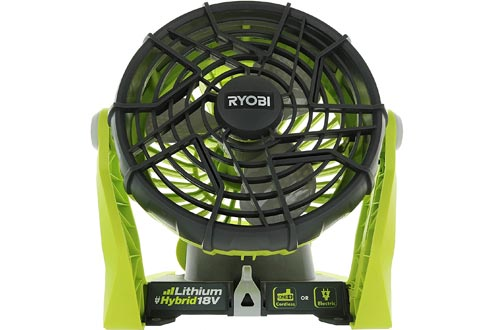 Ryobi P3320 18 Volt Hybrid One+ Battery or AC Powered Adjustable Indoor / Outdoor Shop Fans (Battery and Extension Cord Not Included / Fan Only)