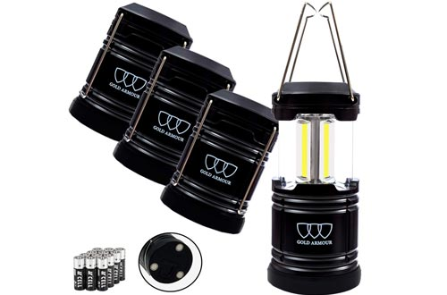 Gold Armour 4 Pack Portable LED Camping Lanterns Flashlight with Magnetic Base - Emits 500 Lumens - Survival Kit Gear for Emergency, Hurricane, Power Outage with 12 aa Batteries