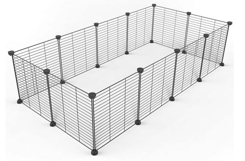 Tespo Pet Playpen, Dog Puppy Cat Pens, Small Animal Cage Indoor Portable Metal Wire Yard Fence for Small Animals, Guinea Pigs, Rabbits Kennel Crate Fence Tent Black 15 X 12 Inches