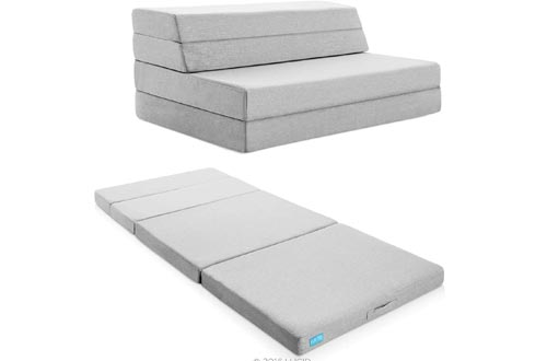 """Lucid LU04FFFSGF2 4"""" Folding Mattresses & Sofa with Removable Indoor/Outdoor Fabric Cover, Full"""