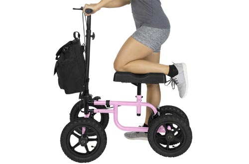 Vive Knee Walker - Steerable Scooters for Broken Leg, Foot, Ankle Injuries - Kneeling Quad Roller Cart - Orthopedic Seat Pad for Adult and Elderly Medical Mobility - 4 Wheel Caddy Crutch - (Pink)