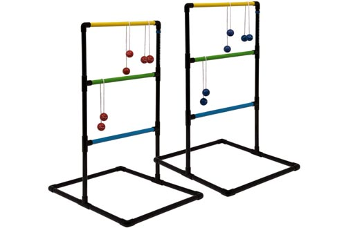 Champion Sports Outdoor Ladder Ball Game: Backyard Party, Camping & Beach Games Ladder Golfs Set for Adults and Kids with Bolas Balls and Carrying Case