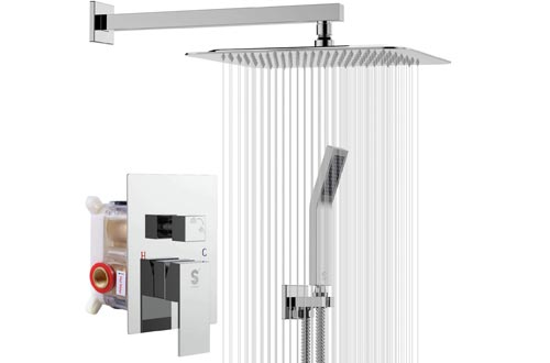 SR SUN RISE SRSH-F5043 10 Inches Bathroom Luxury Rain Mixer Shower Combo Set Wall Mounted Rainfall Shower Heads System Polished Chrome Shower Faucet Rough-in Valve Body and Trim Included