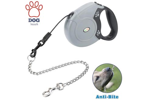 Idepet Heavy Duty Retractable Dog Leashes for Small and Medium Dogs, Anti-Chewing Steel Chain Design,360°Tangle-Free,Break & Lock System,16ft Leashes for Dog Walking