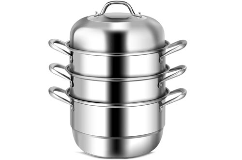 Casart Stainless Steel Steamer Pots 6 Quart W/ 2 Steaming Septa and Tempered Glass Lid, Adjustable temperature on Gas, Electric, Grill Stove 3 Tier Steamer Set