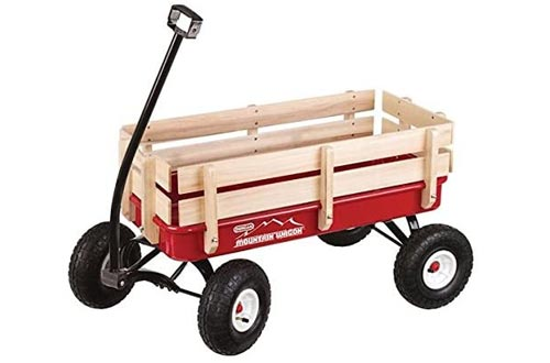 Duncan Toys Mountain Wagon - Pull-Along Wagon for Kids with Wooden Panels, All Terrain Tires, Wide Grip Handle, Wide Wheel Base