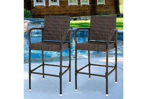ZENY Set of 2 Wicker Barstool All Weather Dining Chairs Outdoor Patio Furniture Wicker Chairs Bar Stools with Armrest