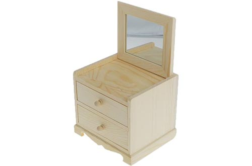 Dovewill Natural Unfinished Wooden Jewelry Boxes Small 2 Drawers Chest Case Glass Mirror