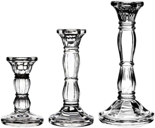 3Pack-Glass-Candle-Stick-Holders-Clear-Crystal-Taper-Candles-Holder–-for-Buring-Candles-Led-Taper-CandleParty-and-Wedding-Centerpieces-Table-Decoration468inches-Tall