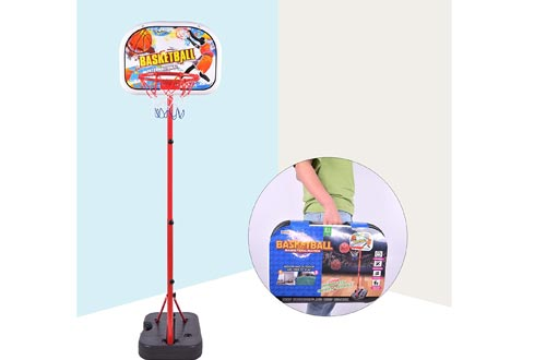 Portzon NBA Mini Basketball Hoops Indoor with Adjustable-Height 67 inch-78.7 inch Shatter Resistant Backboard