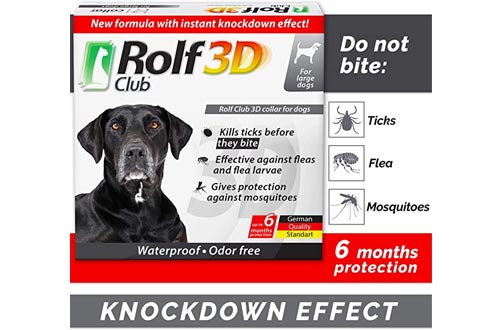 Rolf Club 3D FLEA Collars for Dogs - Flea and Tick Prevention for Dogs - Dog Flea and Tick Control for 6 Months - Safe Tick Repellent - Waterproof Tick Treatment (L)