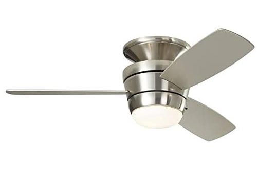 Harbor Breeze Mazon 44-in Brushed Nickel Flush Mount Indoor Ceiling Fans with Light Kit and Remote (3-Blade)