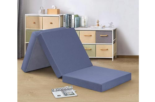 PrimaSleep 4 Inch Tri-Folding Memory Foam Mattresses, Single, Gray, Topper, Sofa Bed, Guest Bed, Sleepover, Dorm Room Bed, Floor Mat, Camping, Portable Mattresses, Easy to Carry (Single)