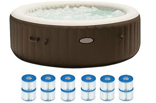 MRT SUPPLY Pure Spa 6 Person Portable Inflatable Hot Tubs + 12 Filter Replacements with Ebook