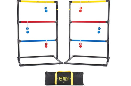 A11N Upgraded Premium Ladder Toss Game Set with 6 Golfs Bolas & Carrying Bag