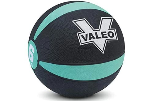 Valeo -Pound Medicine Ball with Sturdy Rubber Construction and Textured Finish, Weight Ball Includes Exercises Wall Chart for Strength Training, Plyometric Training, Balance Training and Muscle Build